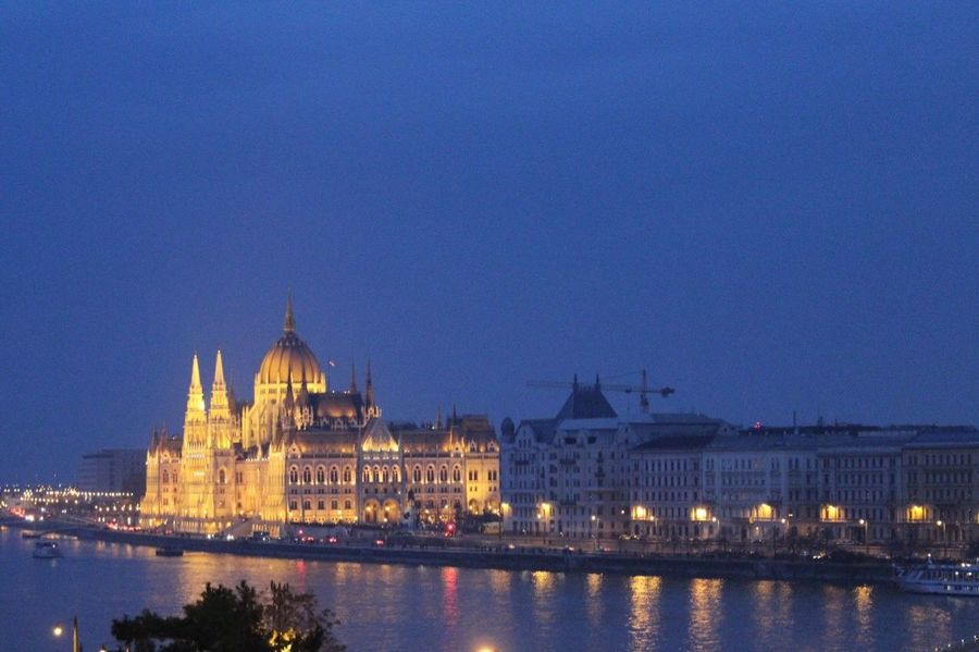 Budapest Danubio River Orszaghaz Parlamento Húngaro Night Politics And Government Night Photography