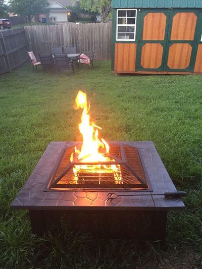 Backyard Firepit Flames Grass Green Black Fire Pit Kit Fire Poker