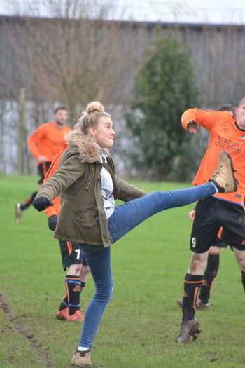 SEEING IS BELIEVING Boots N Jeans Gal💝 Casual Clothing Day Enjoyment Field Focus On Foreground Full Length Fun Grass Grassy Jumping Kickin It Kicks Leisure Activity Lifestyles Outdoors Park Playful Playing Running
