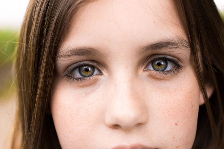 Childhood Close-up Contemplation Elementary Age Focus On Foreground Green Eyes Headshot Human Eye Human Face Innocence Iris Looking Looking At Camera Portrait Pupil
