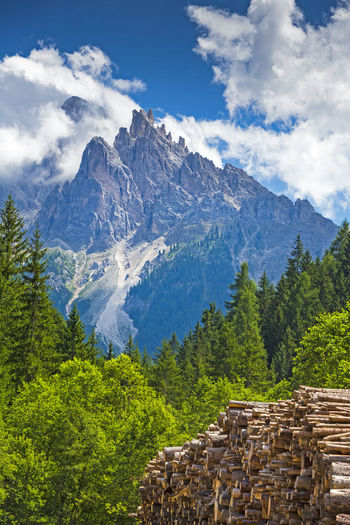 Italy, Alto Adige, Hochpustertal, National parc Fanes-Sennes-Prags, Prags valley with Dürrenstein - Picco di Vallandro 2842 m Alta Pusteria Alto Adige Brunico-Bruneck Dolomites National Park Sexten Tirol  Toblach Trentino  Beauty In Nature Braies Lake Duerrenstein Dürrenstein Fanes Forest Innichen Italy Landscape Mountain Mountain Peak Prags Pragser Wildsee Sennesfanesbraies Summer Tranquility