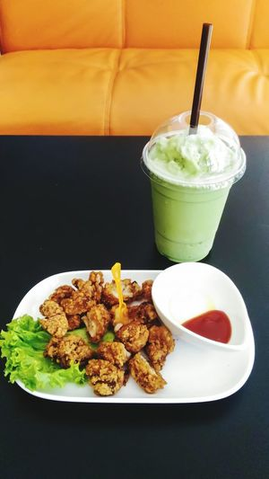 Fried chicken and frappe green tea at cafe Food And Drink Drink Food Drinking Glass Cook  Fried Menu Menu Advertisment Chicken Fried Chicken Frappe Green Tea Green Tea Tea Summer Cafe Coffee Shop Lunch Live For The Story