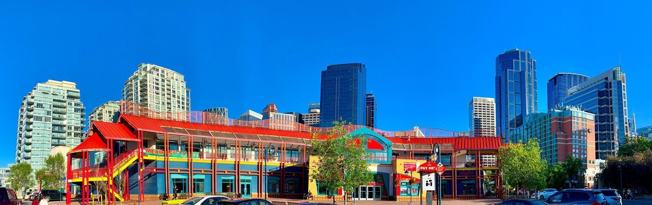 Panoramic view of city buildings against clear blue sky