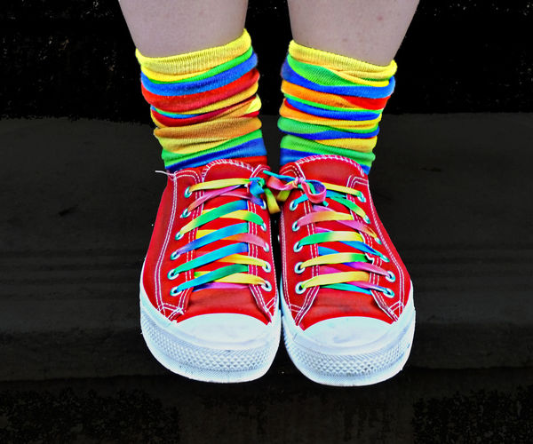 Close-up Feet Leaf Multi Colored Out Of The Box Rainbow Shoe Shoes Sneekers Sock Standing Striped EyeEmNewHere Neon Life