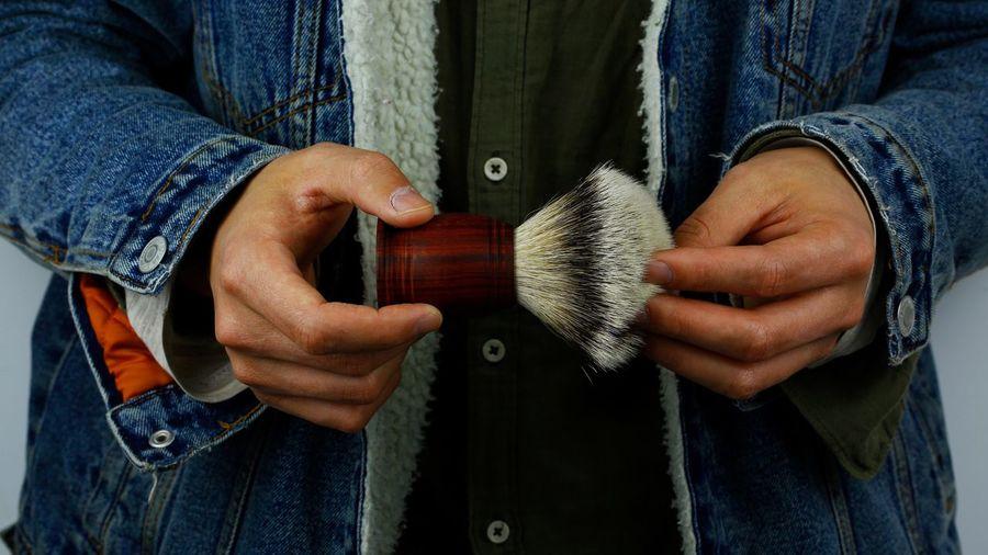Shaving Shaving Brush Shaving Cream One Person Human Hand Hand Holding Human Body Part Real People Lifestyles Adult Close-up Men Jeans Clothing