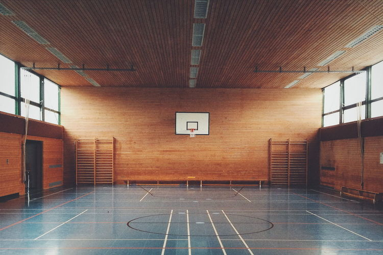 Interior of basketball court in school