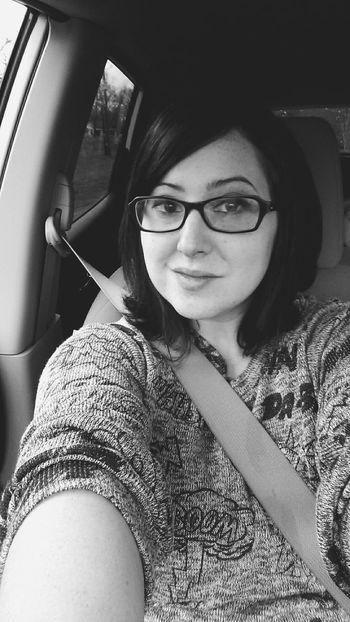Black And White Selfportrait Car Ride  Glasses