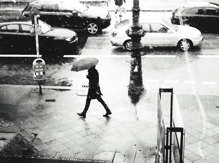 EyeEm 5.0 Blackandwhite Photography Blackandwhite Street Photography Berlin Photography Streetphotography_bw Man Umbrella How's The Weather Today? Streetphotography