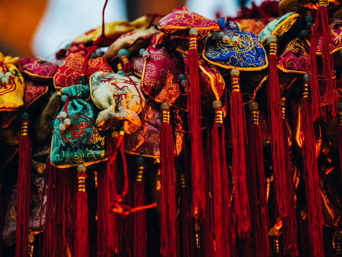Celebration China Close-up Day Focus On Foreground Hanging Market Multi Colored No People Outdoors Red Tassle Texture