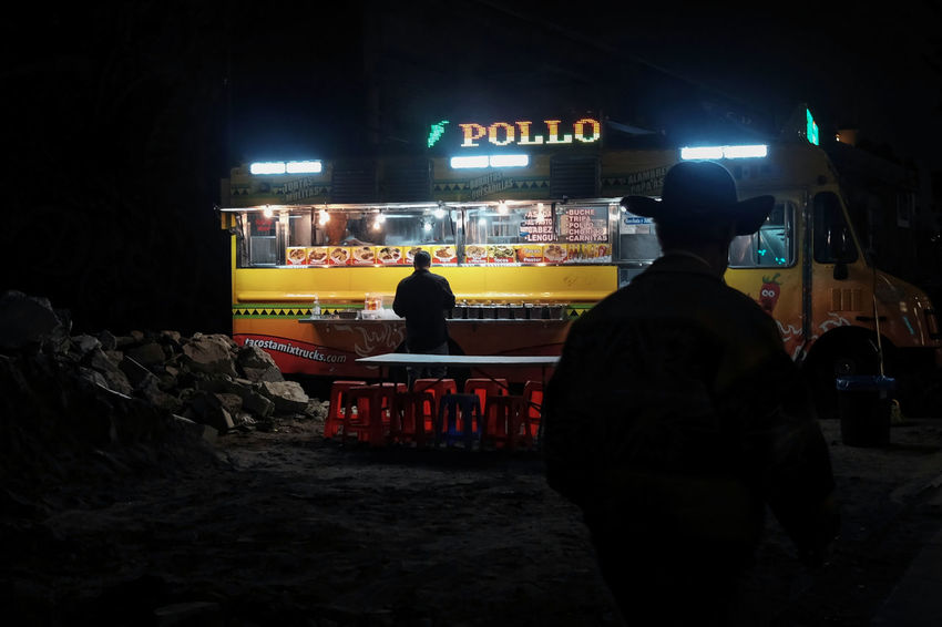 El Pollo Loco - Vehicle City Illuminated Neon Night People Real People Rear View Text Food Hat Silhouette