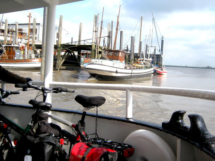 Ditzum Bike Trip Boat Ditzum, Germany Ferry Harbor Mast Mode Of Transport Outdoors Sailboat Sailing Sea Transportation Travel Water Waterfront