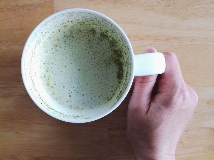 Drink Matcha Tea Tea - Hot Drink Green Tea Human Body Part Human Hand Indoors  Matcha Freshness Close-up Food And Drink Directly Above High Angle View Matcha Latte Morning Rituals