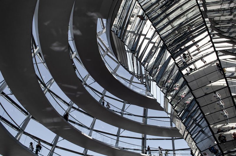 Berlin Berlin Love Berlin Photography Architecture Berlinstagram Built Structure City Dome Glass - Material Indoors  Low Angle View Mirror Reflection Pattern Railing Reichstag Spiral Spiral Staircase Staircase Steps And Staircases Tourism Travel Travel Destinations