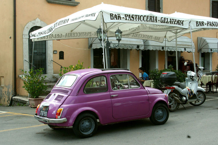 Purple car Motorcycle Bar Car Car Parked Car Parked In Front Of Building City Italy Land Vehicle Lazio Mode Of Transport Outdoors Purple Purple Car Town Transportation Umbrella Via Amerina