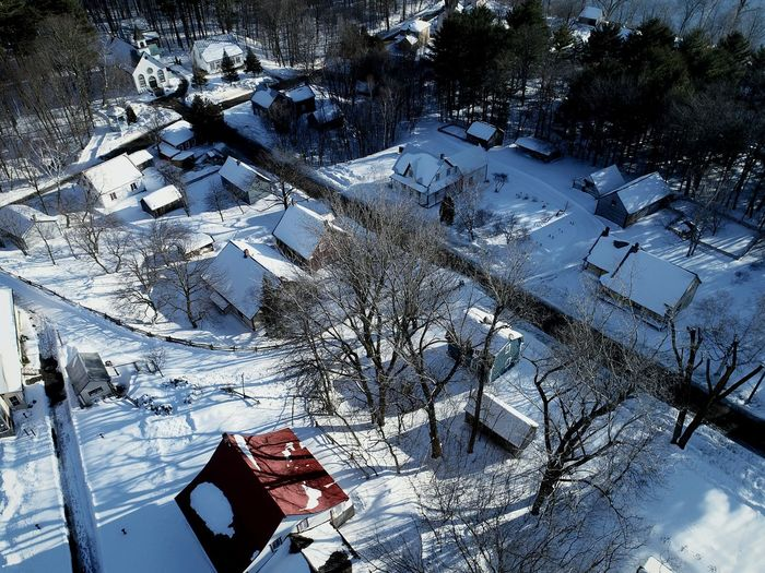 Winter Snow Cold Temperature Day High Angle View Nature Outdoors No People Tree Beauty In Nature Village Québecois D'antan Spring 2017 Blue Rural Scene Architecture Built Structure Scenics Sunset Live For The Story