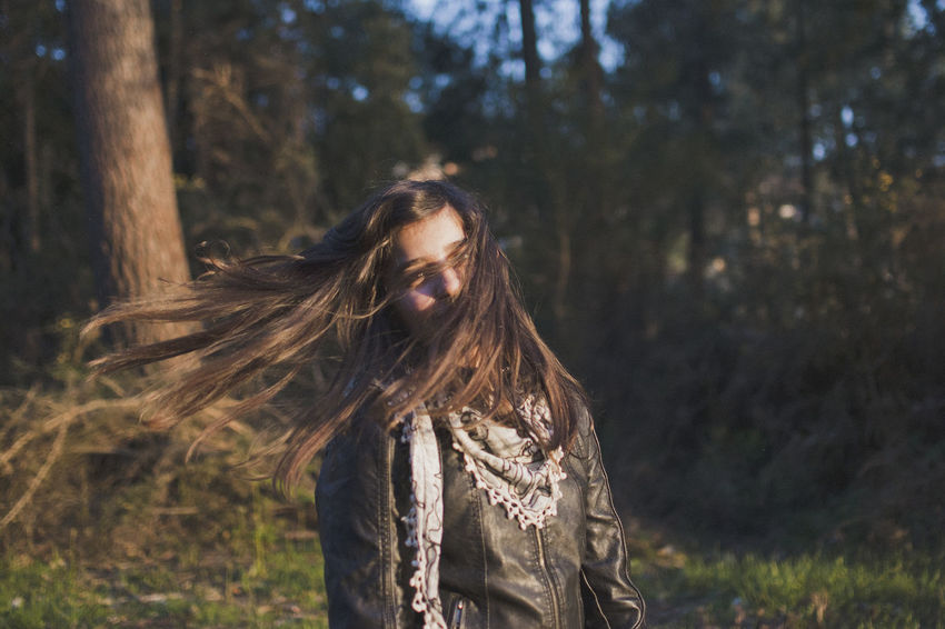 Day Focus On Foreground Forest Leisure Activity Lifestyles Long Hair Nature One Person Outdoors Real People Tree Tree Trunk Young Adult Young Women Press For Progress