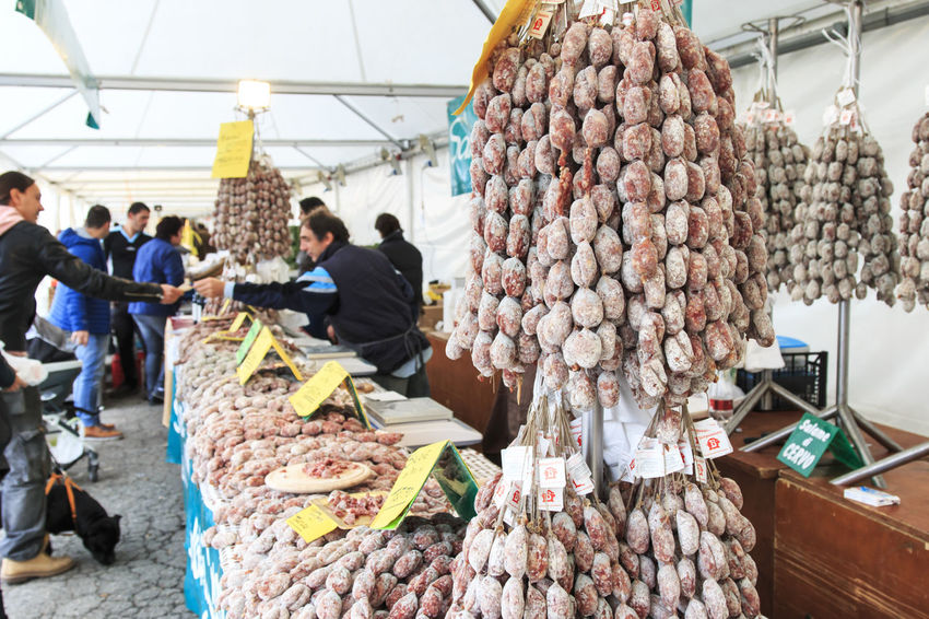 Moncalvo, Italy - October 18,2015: Closeup of Italian salami with relative price tags at the Moncalvo truffle fair. Fair Food Moncalvo Monferrato Salami Traditional Truffle Truffles