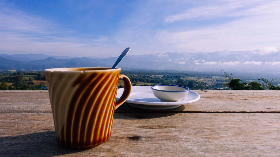 Drink Refreshment Cup Food And Drink Table Mug Sky No People Cloud - Sky Coffee Cup Still Life Kitchen Utensil Coffee Spoon Eating Utensil Hot Drink Coffee - Drink Tea - Hot Drink Nature Freshness Crockery Tea Cup Breakfast