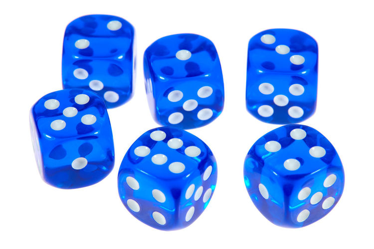 Close-up of blue balls on white background