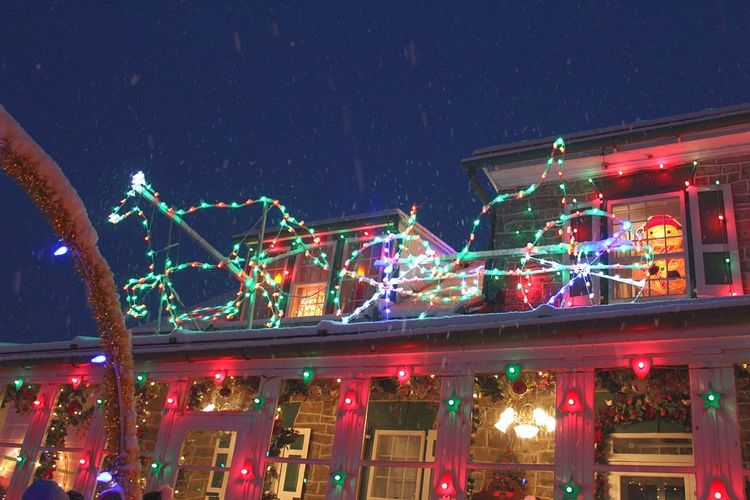 Bright Colors Pennsylvania Bernville Night Illuminated Celebration Outdoors Christmas Low Angle View No People Christmas Decoration Multi Colored City Building Exterior