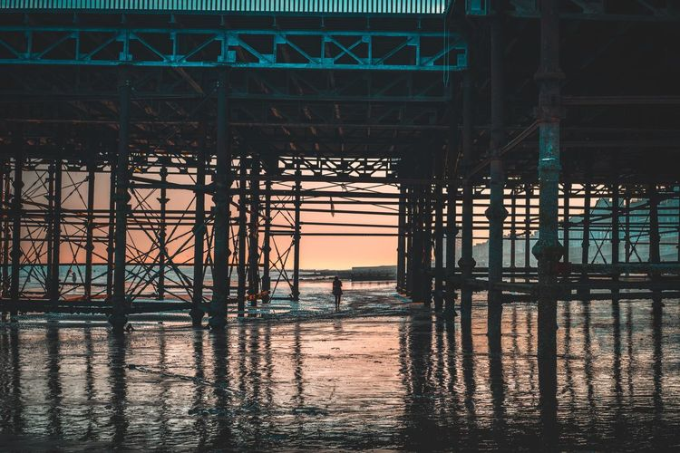 A pier into the unknown Water Built Structure Architecture Sea No People Sky Nature Reflection Silhouette Outdoors Transportation Beach Pattern Day Metal Sunset Waterfront Building Exterior Land