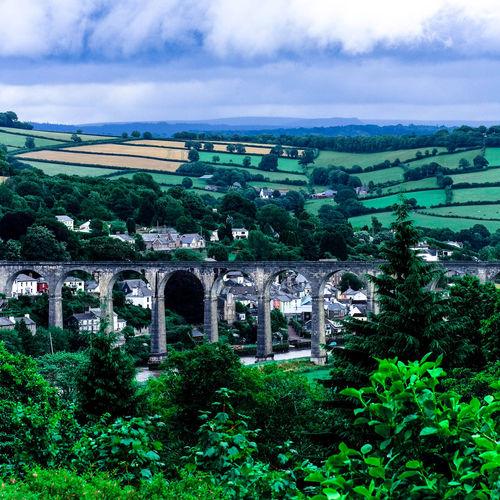 Arches Of Viaduct Architecture Bridge Built Structure Cloud - Sky Devonshire England Green Color Landscape Overcast Scenics Sky Train Station Travel Destinations Viaduct View Of Dev View Of Town