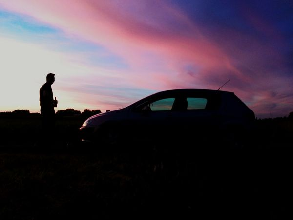 he and his car <3 Sunset Dramatic Sky Cloud - Sky Car One Person Men True Colors Nature Rainbow Field Multi Colored Outdoors