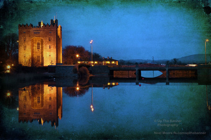 Architecture Building Exterior Built Structure Bunratty Castle Castle City County Clare Cultures Ferris Wheel Grunge Grunge_effect Illuminated Ireland Ireland Castles Night No People Outdoors Reflection River Sky Skyscraper Travel Travel Destinations Urban Skyline Water