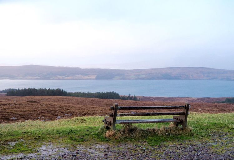 Barrier Beauty In Nature Boundary Day Environment Field Grass Highlands Of Scotland Landscape Mountain Nature No People Non-urban Scene Outdoors Plant Scenics - Nature Seat Sky Tranquil Scene Tranquility Water Wood - Material