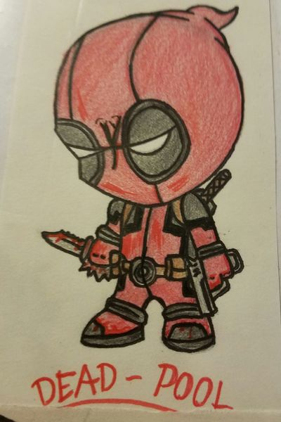 Deadpool, cute, small, mad, evil, dark, humorous