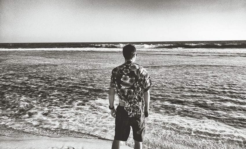 Looking to the Future Future Monochrome Photography Looking Forward Model Man Hawaiian Shirt Sea Standing Beach Water Shorts Shore Lifestyles Men Rippled Solitude Nature Clear Your Mind Alone Remote Tranquility Vacations Ocean Destination The Way Forward Be. Ready.