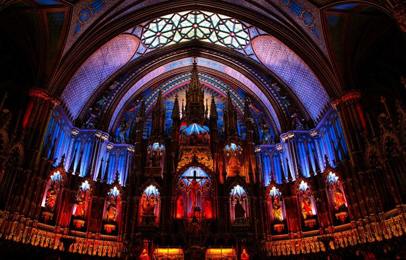 Cathedral Christianity Altar Arch Architectural Column Architecture Belief Building Built Structure Ceiling Glass Gothic Style History Illuminated Indoors  Low Angle View No People Ornate Place Of Worship Religion Spirituality Travel Destinations HUAWEI Photo Award: After Dark
