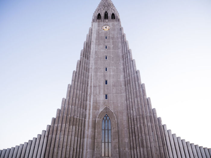 Arch Architecture Building Exterior Built Structure Church City Clear Sky Façade Famous Place History Iceland Low Angle View Modern National Landmark Outdoors Place Of Worship Religion Reykjavik Skyscraper Spire  Spirituality Tall - High Tourism Tower Travel Destinations