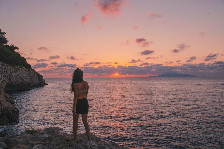 Woman Body Curves  Light Sun Light And Shadow Beach Sunset Calm Ocean Ocean View Meditation Girl Sky Nature Island Capri, Italy Italy Islandlife Island Life Sea Seascape Sea And Sky