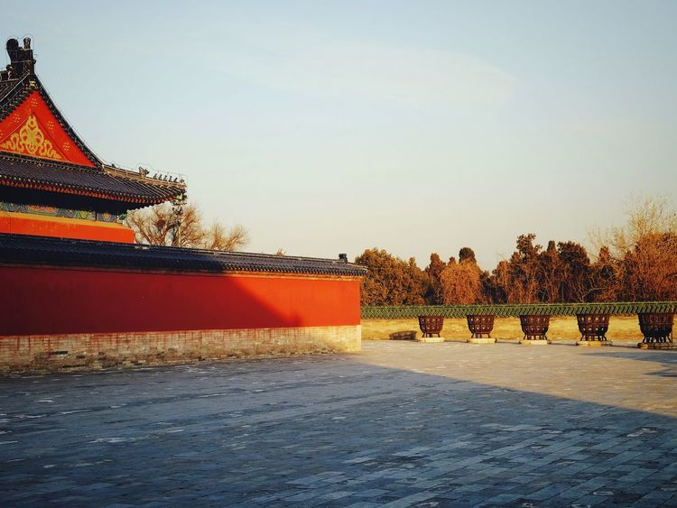 Outdoors Day Sky China Culture Traditional Architecture Traditional Building Beijing, China Old Architecture FUJIFILM X-T10 Temple Of Heaven Park Old Building  Old Building  Warm Winter Light And Shadow King - Royal Person Tourism History Royalty Travel Destinations China View Travel Warm Light Multi Colored Wall - Building Feature Sunlight