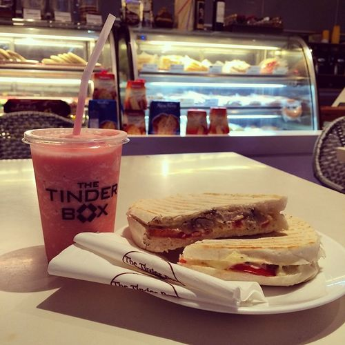 Peppered Chicken Sandwich with Banana Berry Smoothie for dinner:) Tinderbox Dinner Cebu Airport