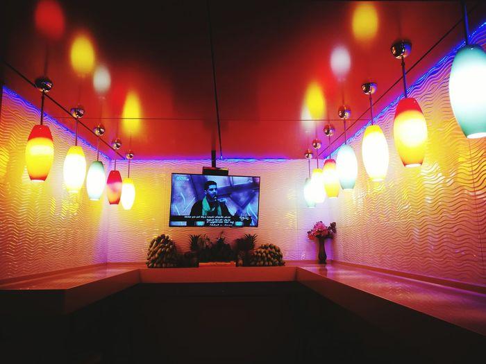 Illuminated Hanging Decoration Electric Light Tv Television Fruitbasket Fruit Bar Lebanon Middle East TakeoverContrast