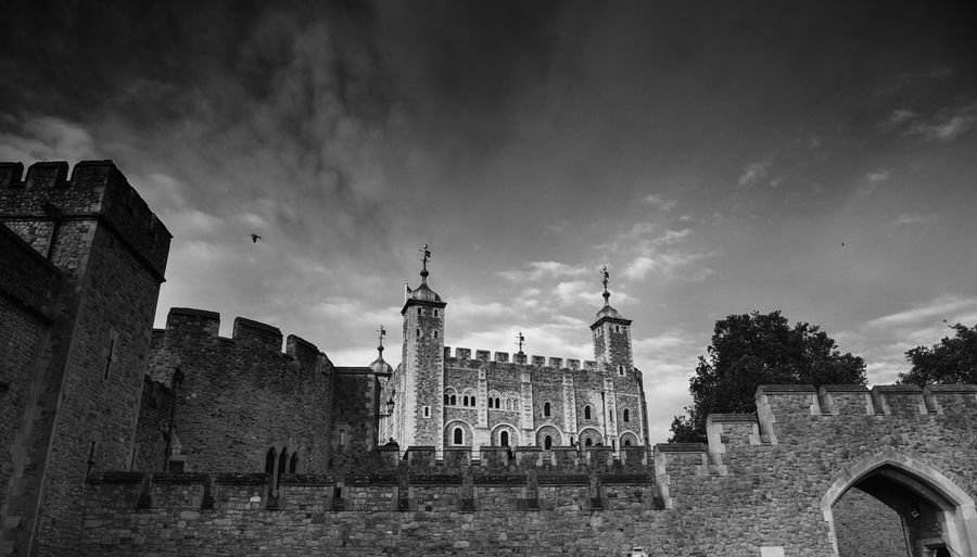 Postcode Postcards Architecture Built Structure Building Exterior History Sky Travel Destinations Low Angle View Cloud - Sky Day Outdoors No People Travel Spirituality Ancient Place Of Worship Toweroflondon Black And White Friday