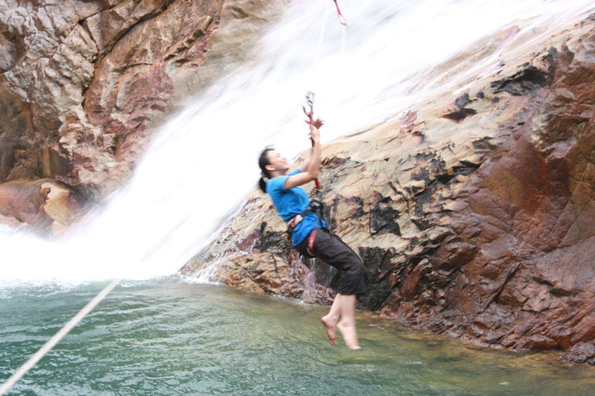 Beauty In Nature Day Full Length Motion Nature One Person Outdoors Real People Rock - Object Rock Climbing Waterfall