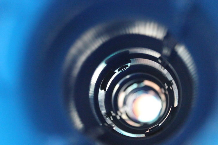 Photography Themes Camera - Photographic Equipment Close-up Blue No People Technology Indoors  Day Tunnel Blue Color Point Of Light Indistrial Perpective Focus The Week On EyeEm