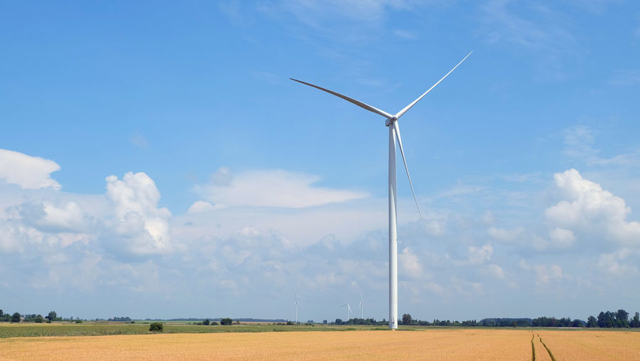 Wind turbines on field against blue sky during sunny day