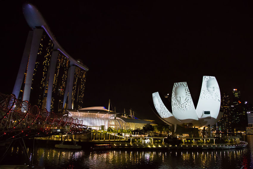 Marina Bay Sands Night Lights Architecture Bay Building Building Exterior Built Structure City Hotel Illuminated Luxury Nature Night No People Office Building Exterior Outdoors Reflection River Sky Skyscraper Tourism Travel Travel Destinations Water Waterfront