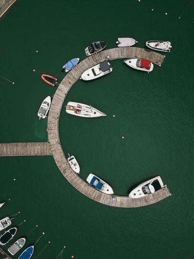 Round wooden pier. water transport.