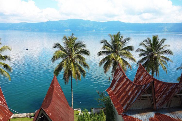 Sumatra  Toba Lake Beauty In Nature Building Exterior Cloud - Sky Day Mountain Nature No People Outdoors Palm Tree Scenics Sea Sky Tree Water