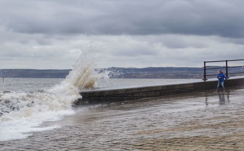 Wet Easter Bank Holiday dodging the waves Waves Wave Sea Wall Sea Filey Yorkshire Stormy Weather Sky Sea Cloud - Sky Land Motion Beauty In Nature Beach Nature Power Wave Scenics - Nature Power In Nature Horizon Over Water