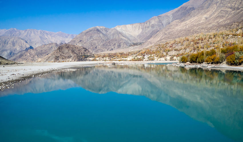 Shadow And Light Reflection Nature Mountain Riverside River River View Along The Way Impression Blue Sky Travel Travel Destinations Sand Day Landscape Water Blue No People Mountain Range Travel Destination Skardu Pakistan