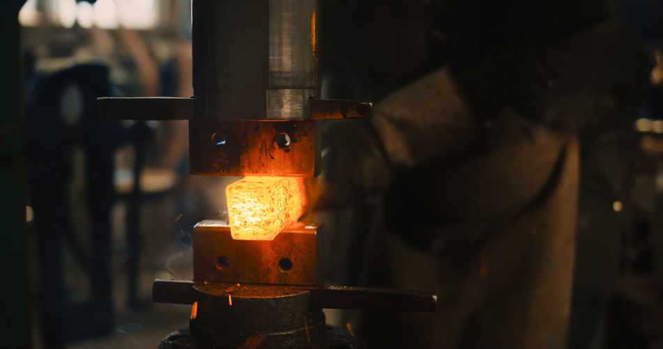 Heat - Temperature Burning Fire Metal Glowing Indoors  Workshop Making Preparation  Industry Flame Fire - Natural Phenomenon Focus On Foreground Metal Industry Occupation Working Kitchen Utensil Household Equipment Close-up Nature Foundry Melting