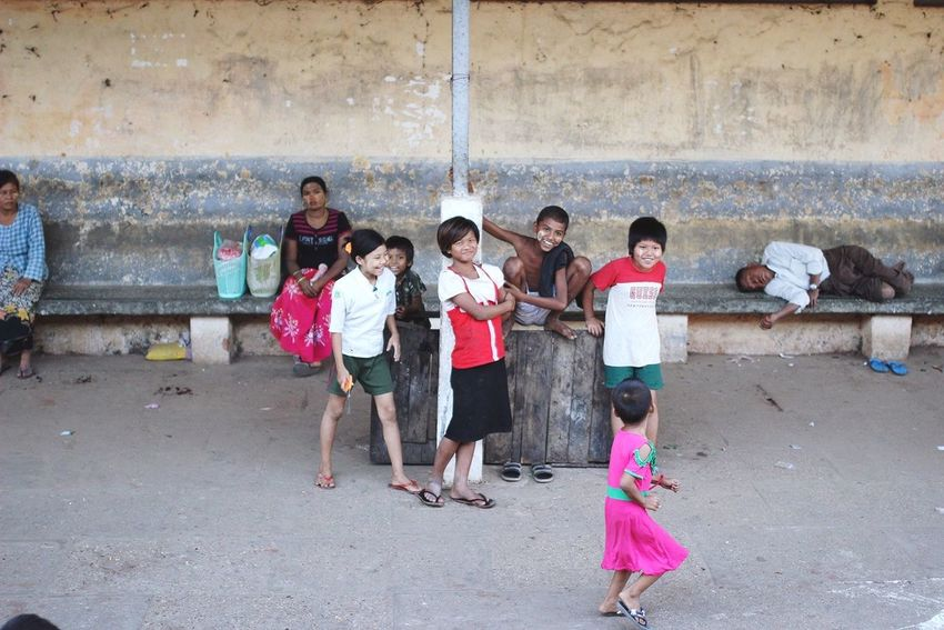 The Human Condition Yangon, Myanmar Kids Big City Life Yangon Yangon Circular Railway Play Children Asian Culture Asian Children Burmese Happy Streetphotography Street Photography ASIA City Life Myanmar Colour Of Life