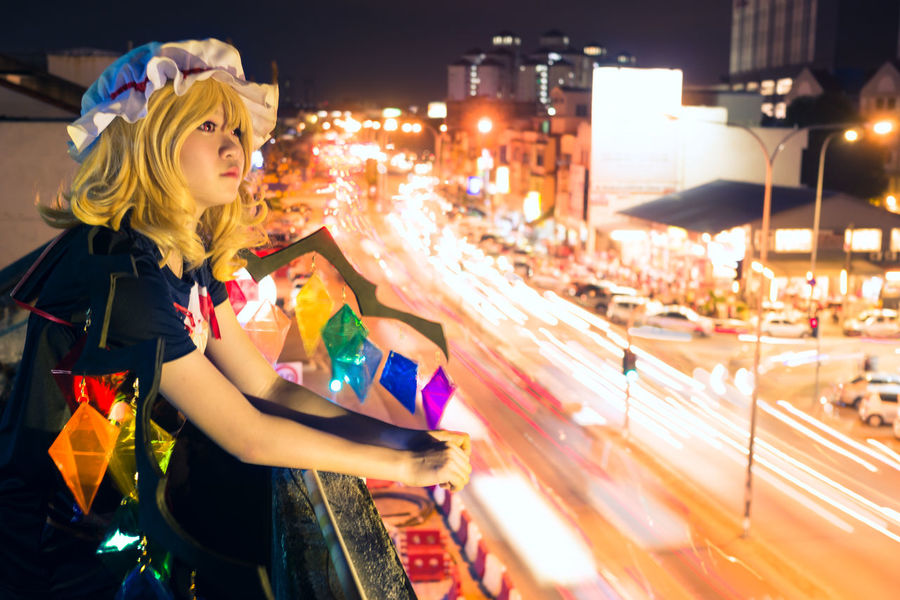 Flandre Scarlet Flandre Scarlet Cosplay Girl Portrait Night Street Urban Light Trails One Person People City Blond Hair Illuminated Outdoors Solo Touhou Project Malaysia Asdgraphy Sony Sony A6000 Sonyalpha Sonyimages Sonyphotography