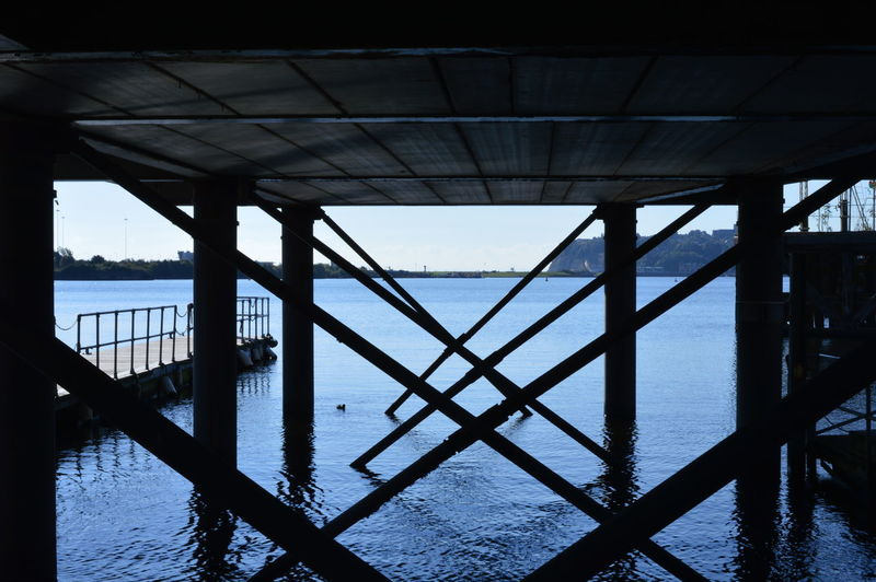 What is underneath • Architecture Blue Bridge Cardiff Bay Lines Schematics Shapes Sky Water
